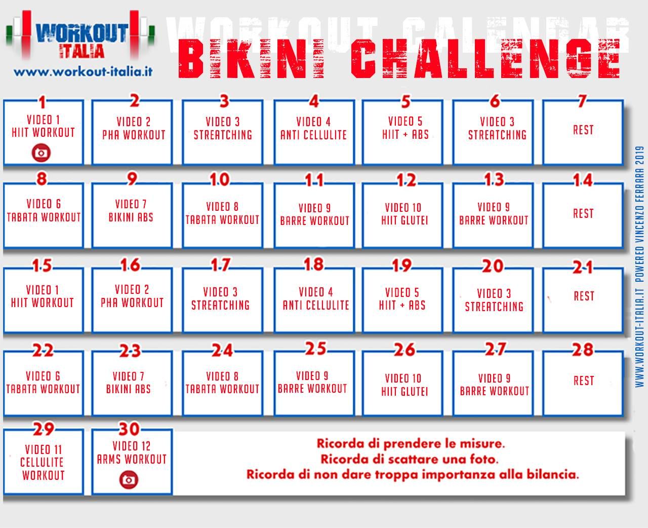 calendario bikini challenge